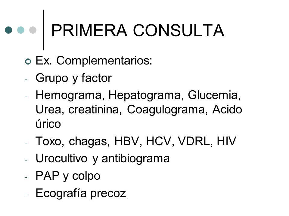 PRIMERA CONSULTA Ex. Complementarios: Grupo y factor