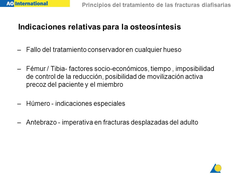 Indicaciones relativas para la osteosíntesis