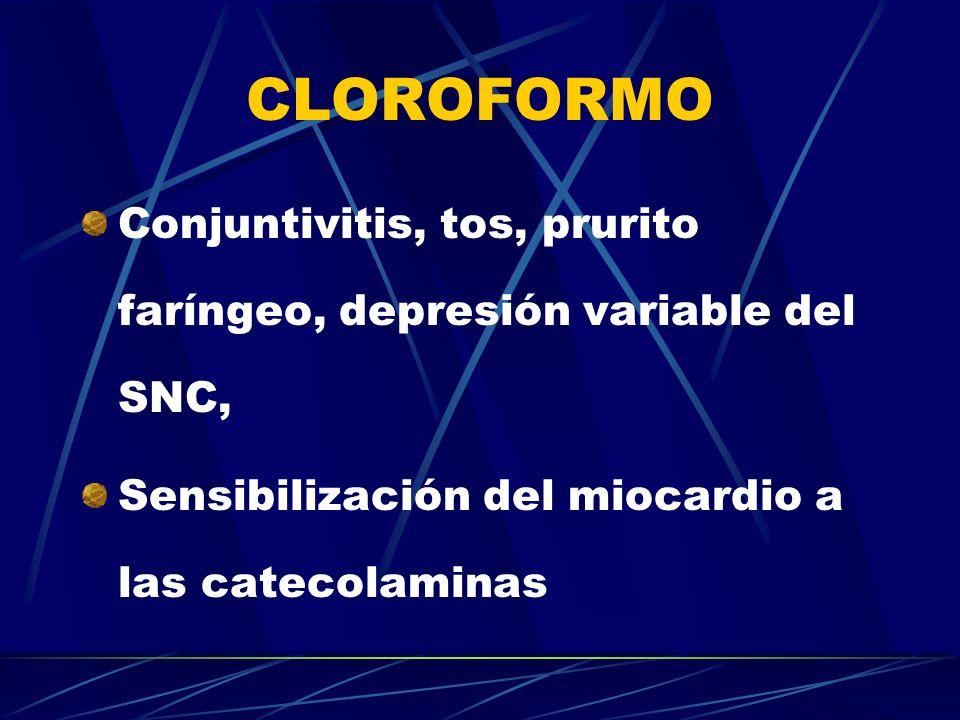 CLOROFORMO Conjuntivitis, tos, prurito faríngeo, depresión variable del SNC, Sensibilización del miocardio a las catecolaminas.