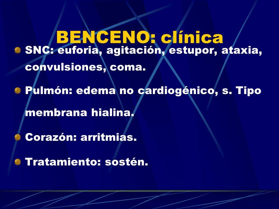 BENCENO: clínica SNC: euforia, agitación, estupor, ataxia, convulsiones, coma. Pulmón: edema no cardiogénico, s. Tipo membrana hialina.