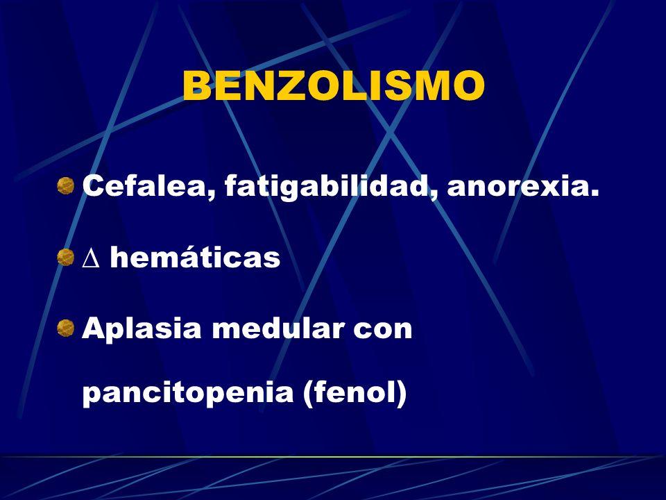BENZOLISMO Cefalea, fatigabilidad, anorexia.  hemáticas