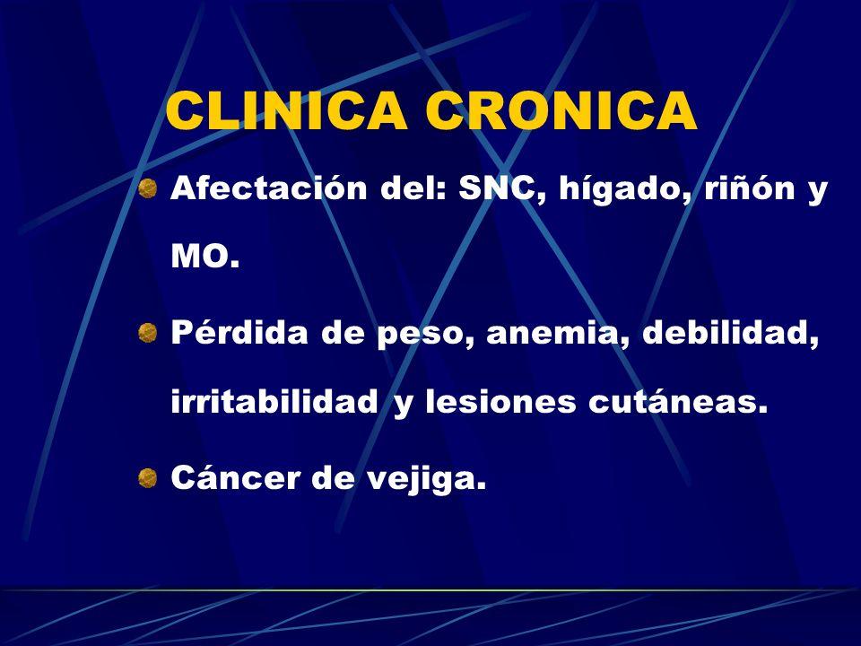 CLINICA CRONICA Afectación del: SNC, hígado, riñón y MO.