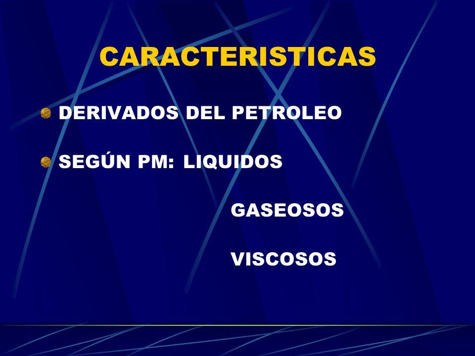 CARACTERISTICAS DERIVADOS DEL PETROLEO SEGÚN PM: LIQUIDOS GASEOSOS