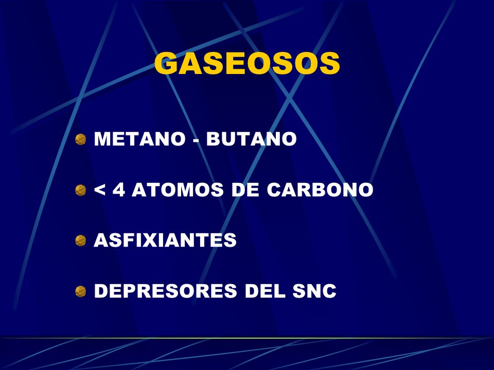 GASEOSOS METANO - BUTANO < 4 ATOMOS DE CARBONO ASFIXIANTES