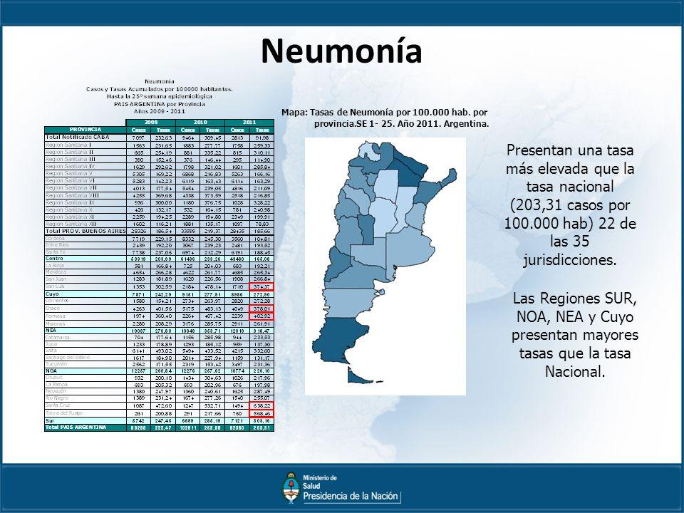 Neumonía Mapa: Tasas de Neumonía por 100.000 hab. por. provincia. SE 1- 25. Año 2011. Argentina.