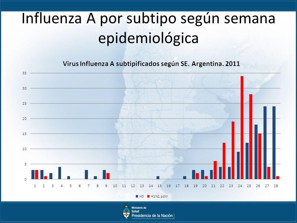 Influenza A por subtipo según semana epidemiológica