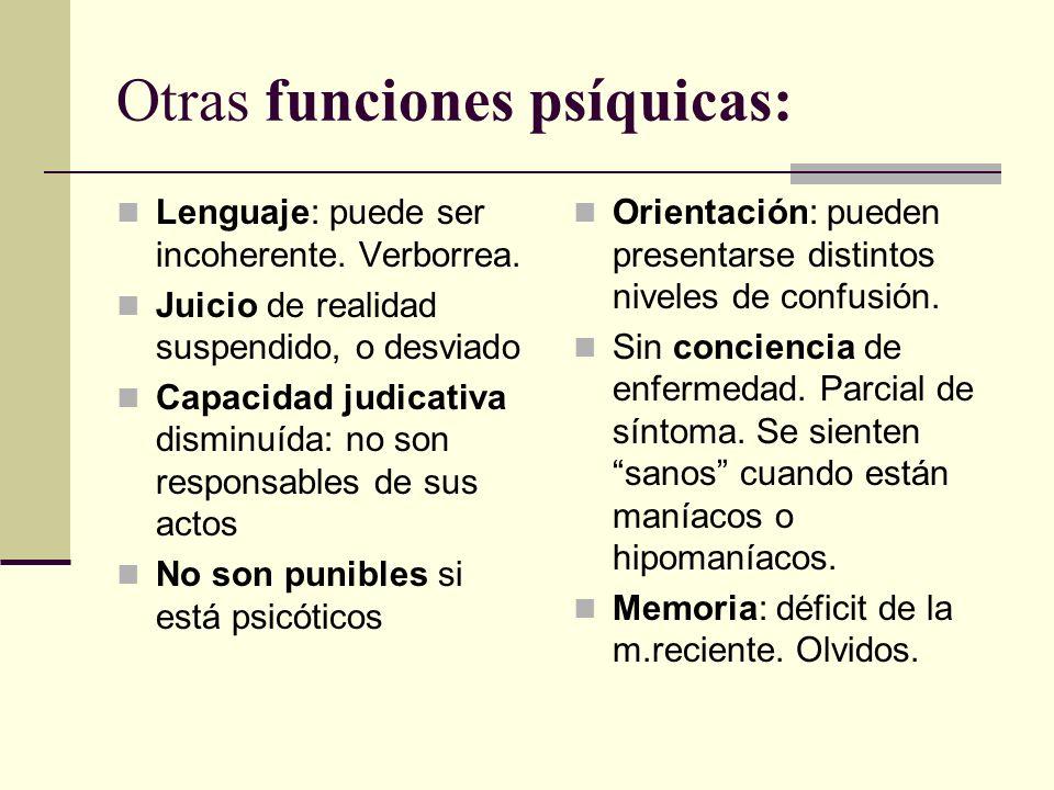 Otras funciones psíquicas: