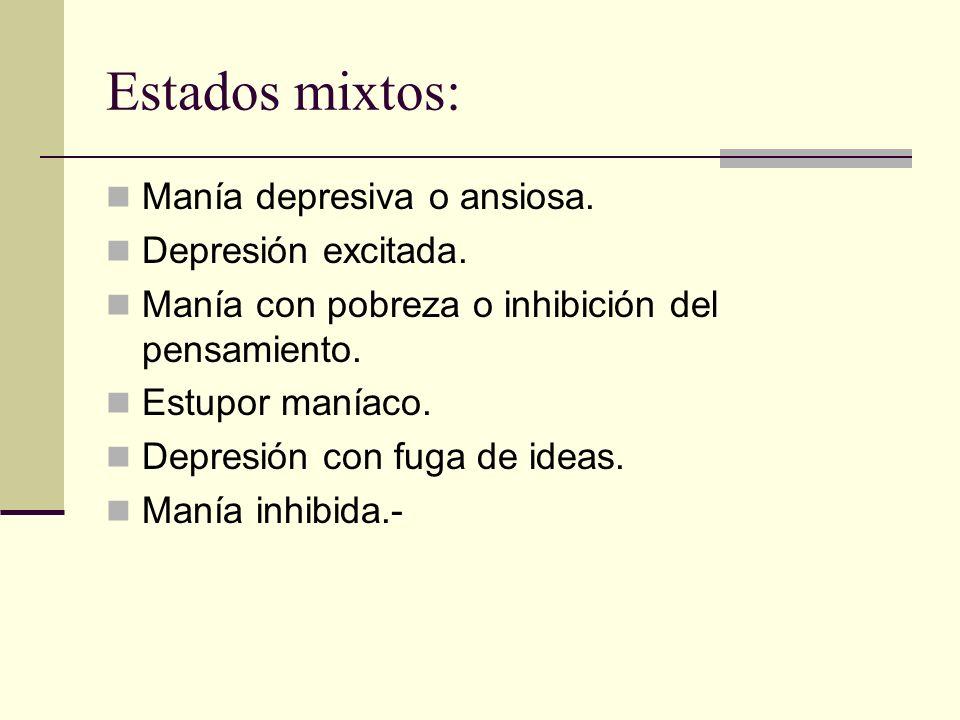 Estados mixtos: Manía depresiva o ansiosa. Depresión excitada.