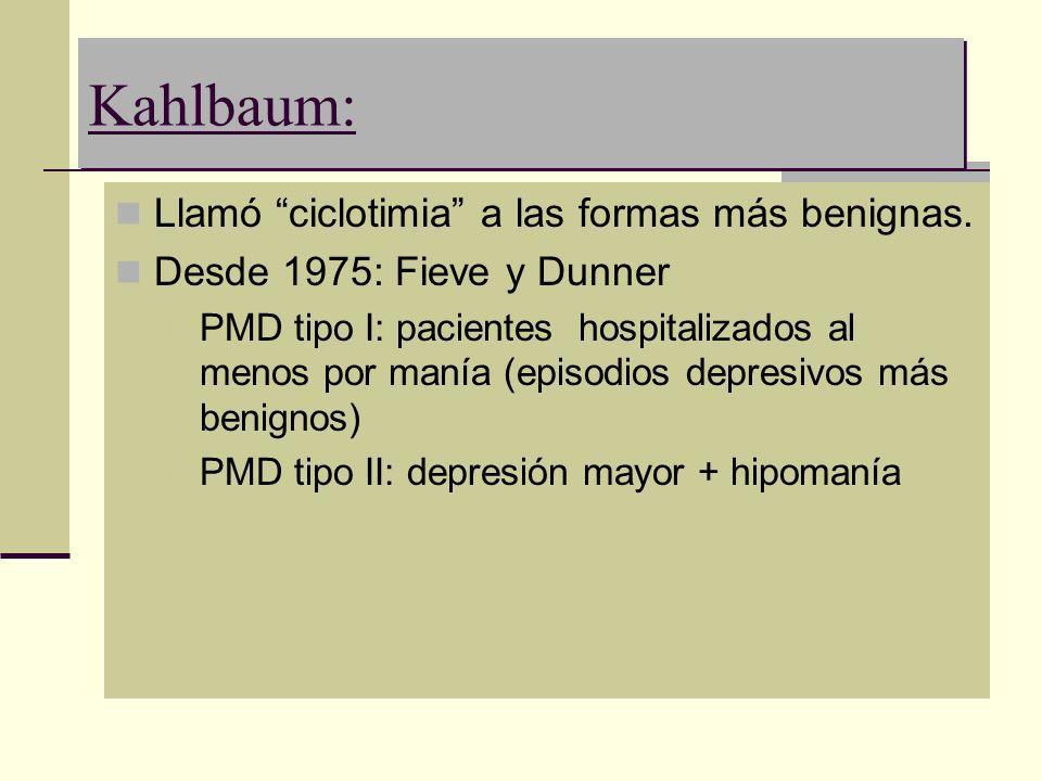Kahlbaum: Llamó ciclotimia a las formas más benignas.