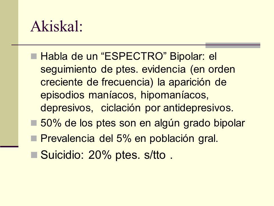 Akiskal: Suicidio: 20% ptes. s/tto .