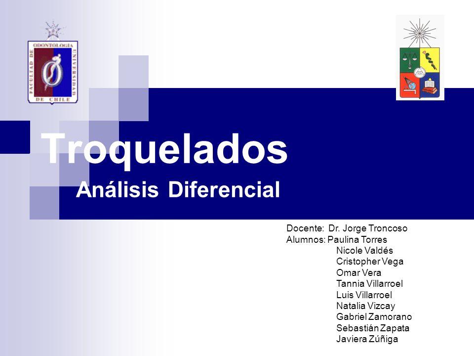 Troquelados Análisis Diferencial Docente: Dr. Jorge Troncoso