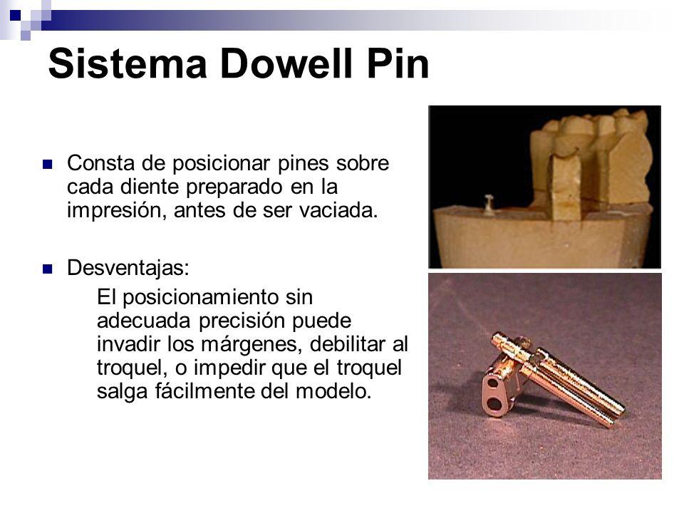 Sistema Dowell Pin Consta de posicionar pines sobre cada diente preparado en la impresión, antes de ser vaciada.