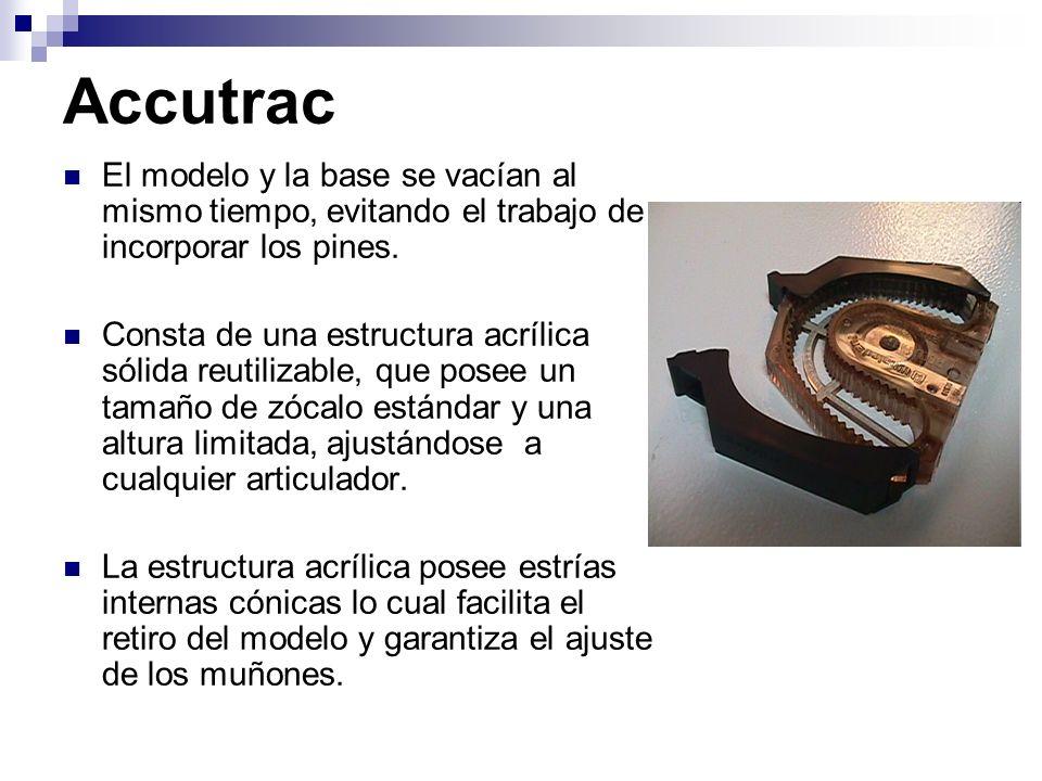 AccutracEl modelo y la base se vacían al mismo tiempo, evitando el trabajo de incorporar los pines.