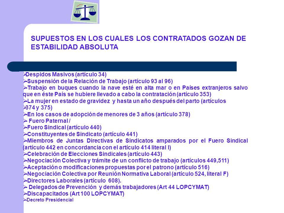 SUPUESTOS EN LOS CUALES LOS CONTRATADOS GOZAN DE ESTABILIDAD ABSOLUTA
