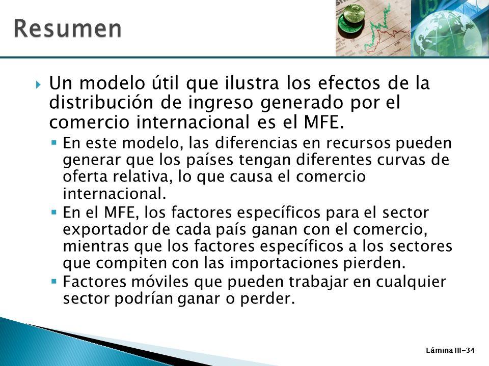 ResumenUn modelo útil que ilustra los efectos de la distribución de ingreso generado por el comercio internacional es el MFE.