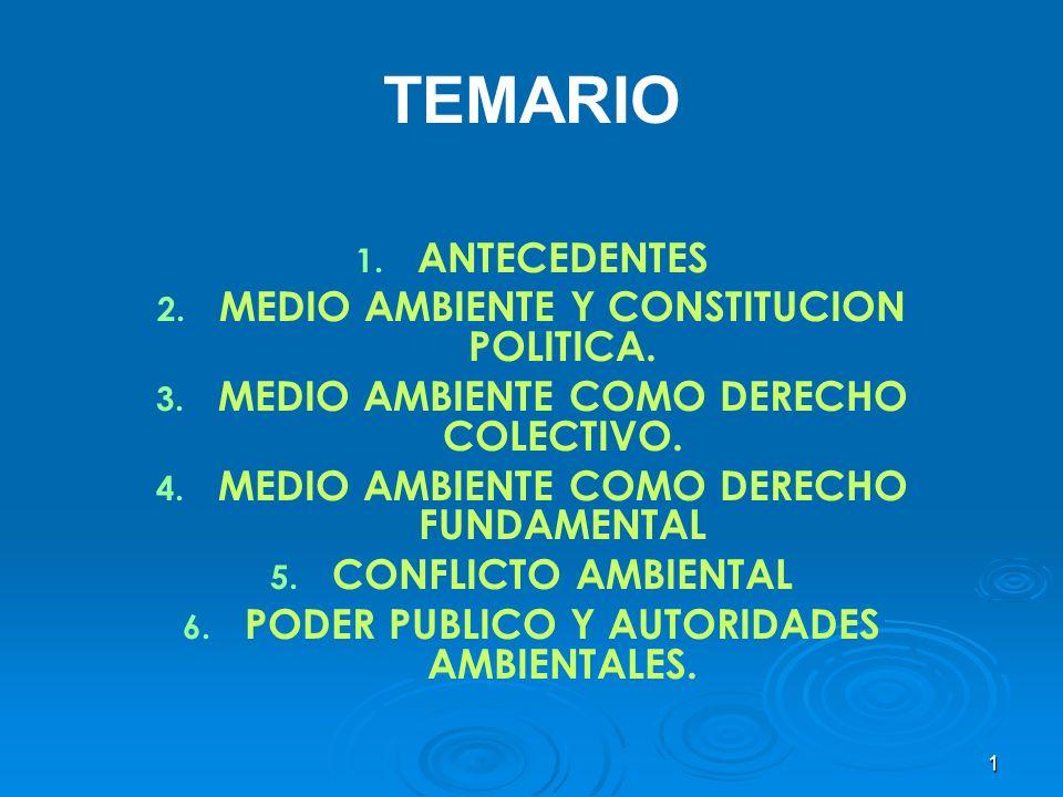 TEMARIO ANTECEDENTES MEDIO AMBIENTE Y CONSTITUCION POLITICA.