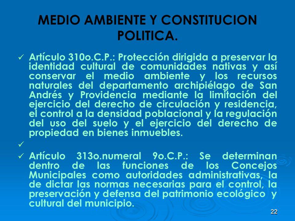 MEDIO AMBIENTE Y CONSTITUCION POLITICA.