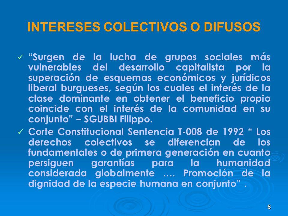INTERESES COLECTIVOS O DIFUSOS