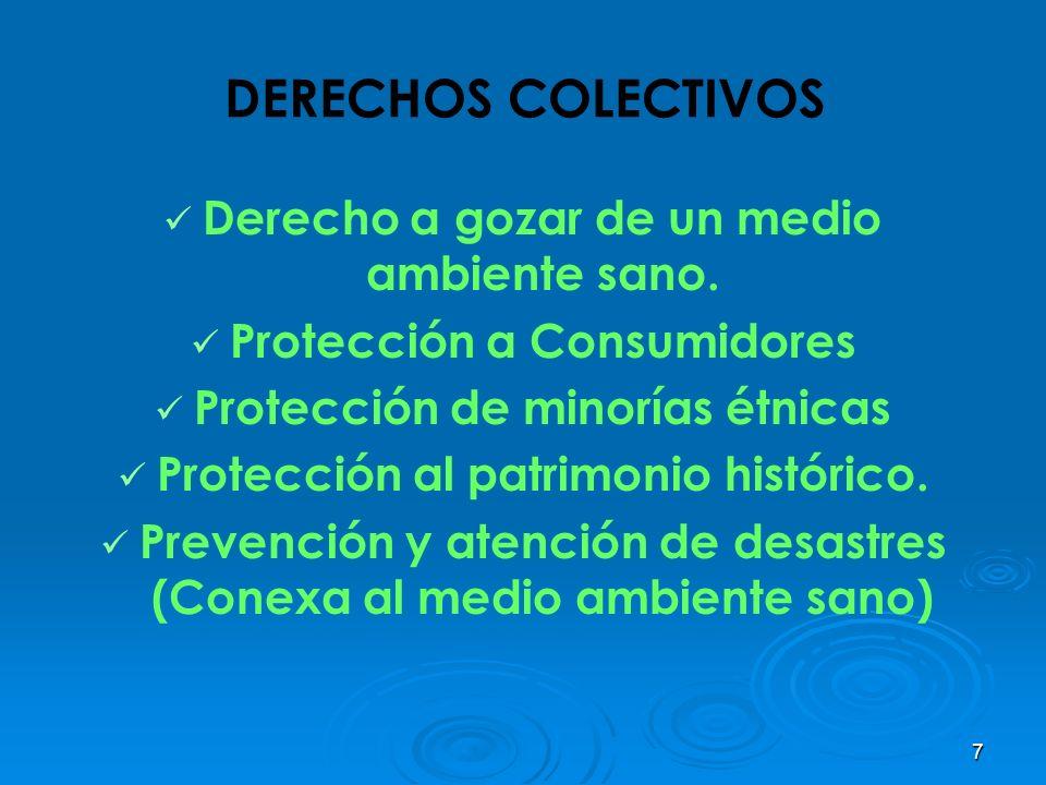 DERECHOS COLECTIVOS Derecho a gozar de un medio ambiente sano.