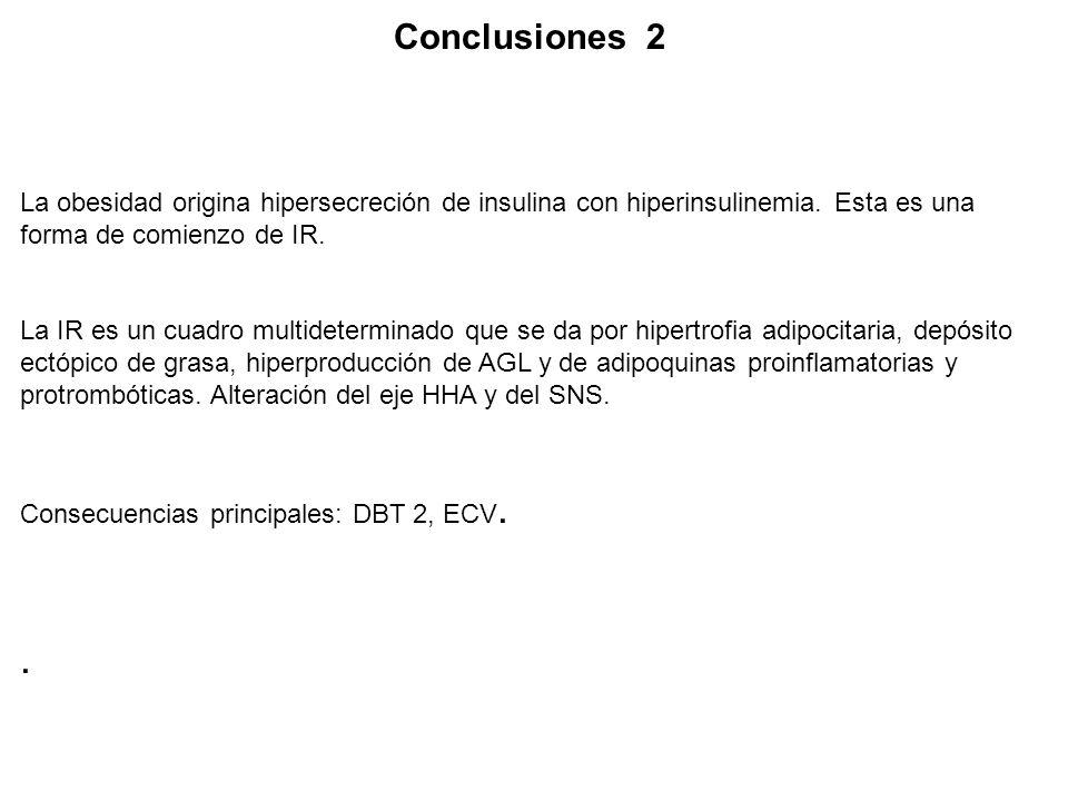 Conclusiones 2 La obesidad origina hipersecreción de insulina con hiperinsulinemia. Esta es una forma de comienzo de IR.