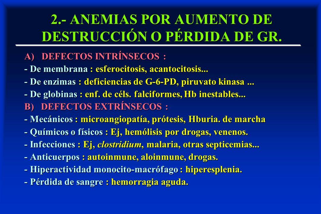 2.- ANEMIAS POR AUMENTO DE DESTRUCCIÓN O PÉRDIDA DE GR.