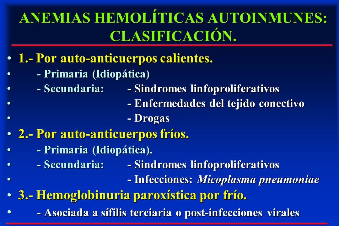 ANEMIAS HEMOLÍTICAS AUTOINMUNES: CLASIFICACIÓN.