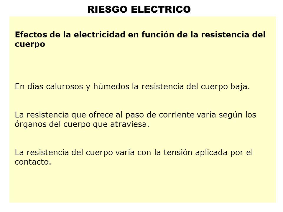 RIESGO ELECTRICO Efectos de la electricidad en función de la resistencia del cuerpo. En días calurosos y húmedos la resistencia del cuerpo baja.