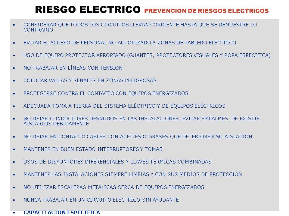 RIESGO ELECTRICO PREVENCION DE RIESGOS ELECTRICOS