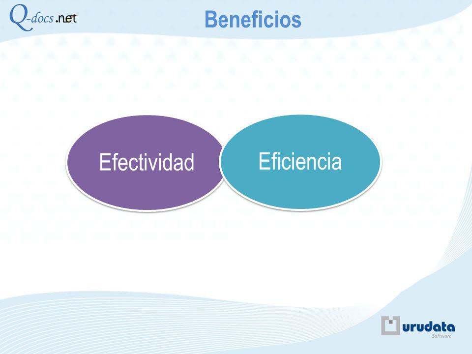 Beneficios Efectividad. Eficiencia. Que es la EFICIENCIA : apunta al como lo hago y al hecho de hacerlo de la manera óptima.