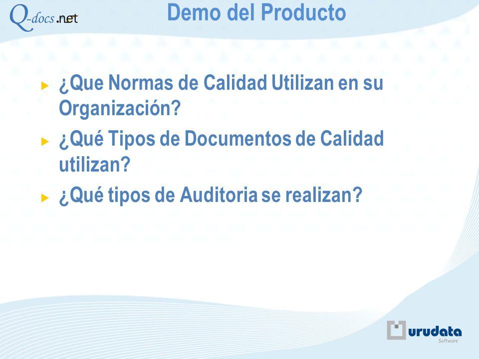 Demo del Producto ¿Que Normas de Calidad Utilizan en su Organización