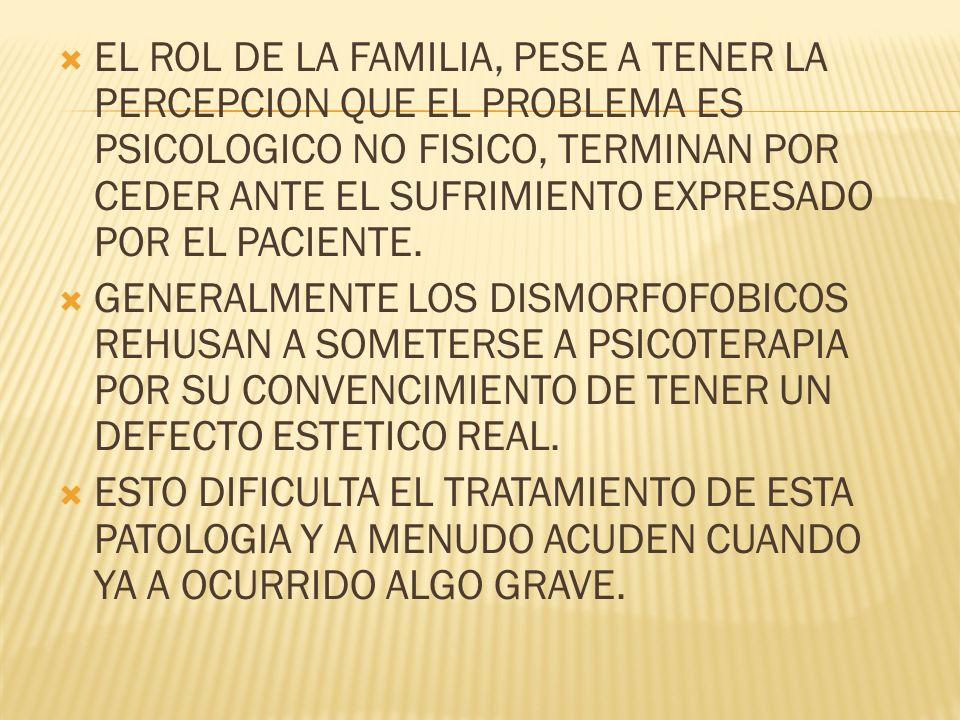 EL ROL DE LA FAMILIA, PESE A TENER LA PERCEPCION QUE EL PROBLEMA ES PSICOLOGICO NO FISICO, TERMINAN POR CEDER ANTE EL SUFRIMIENTO EXPRESADO POR EL PACIENTE.