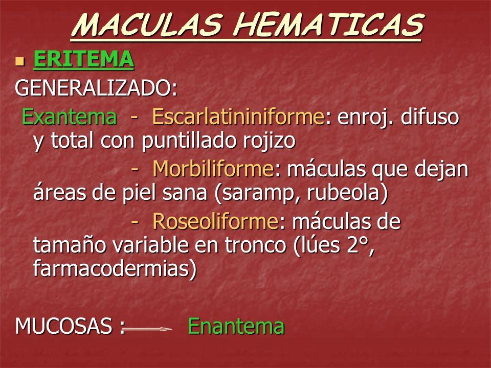 MACULAS HEMATICAS ERITEMA GENERALIZADO: