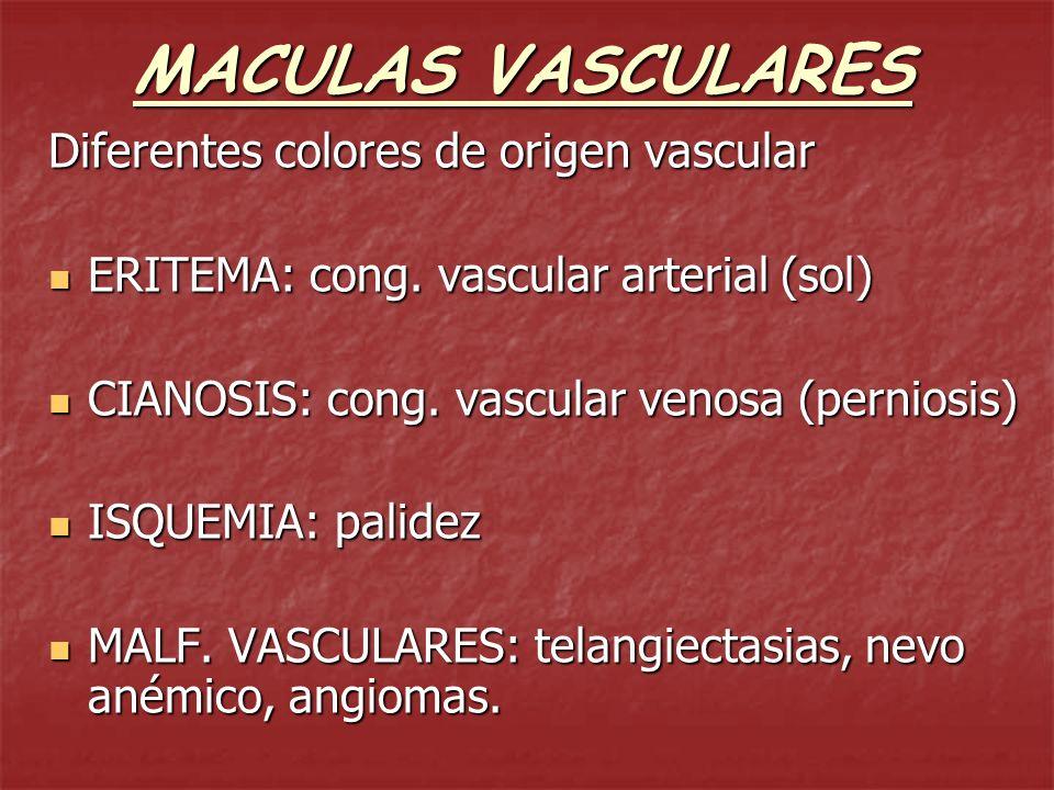 MACULAS VASCULARES Diferentes colores de origen vascular