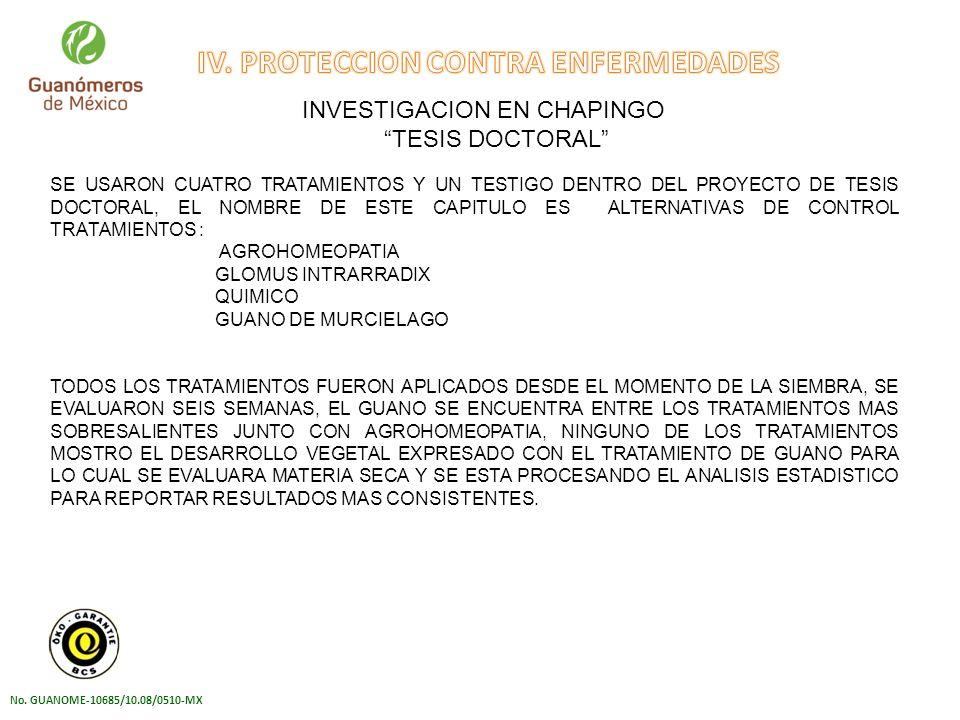 IV. PROTECCION CONTRA ENFERMEDADES