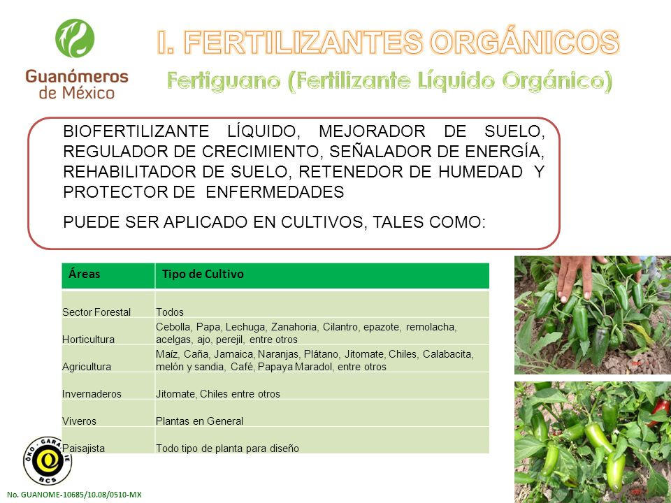 I. FERTILIZANTES ORGÁNICOS Fertiguano (Fertilizante Líquido Orgánico)
