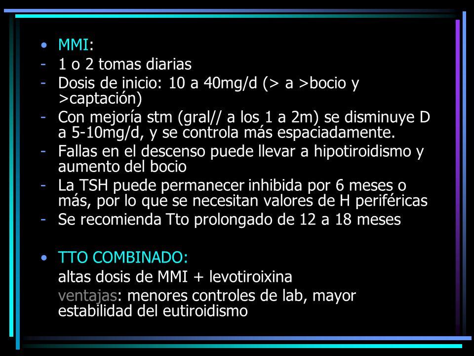 MMI: 1 o 2 tomas diarias. Dosis de inicio: 10 a 40mg/d (> a >bocio y >captación)