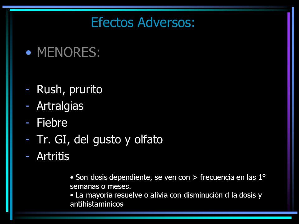Efectos Adversos: MENORES: Rush, prurito Artralgias Fiebre