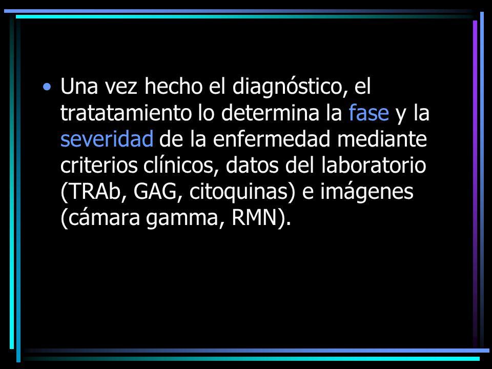 Una vez hecho el diagnóstico, el tratatamiento lo determina la fase y la severidad de la enfermedad mediante criterios clínicos, datos del laboratorio (TRAb, GAG, citoquinas) e imágenes (cámara gamma, RMN).