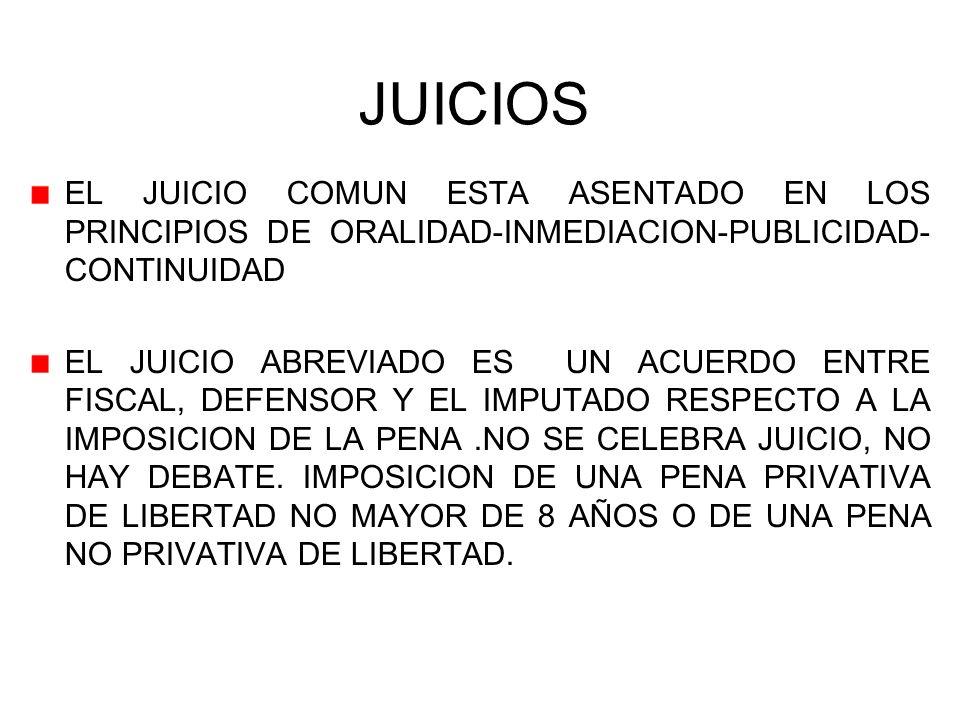 JUICIOS EL JUICIO COMUN ESTA ASENTADO EN LOS PRINCIPIOS DE ORALIDAD-INMEDIACION-PUBLICIDAD-CONTINUIDAD.