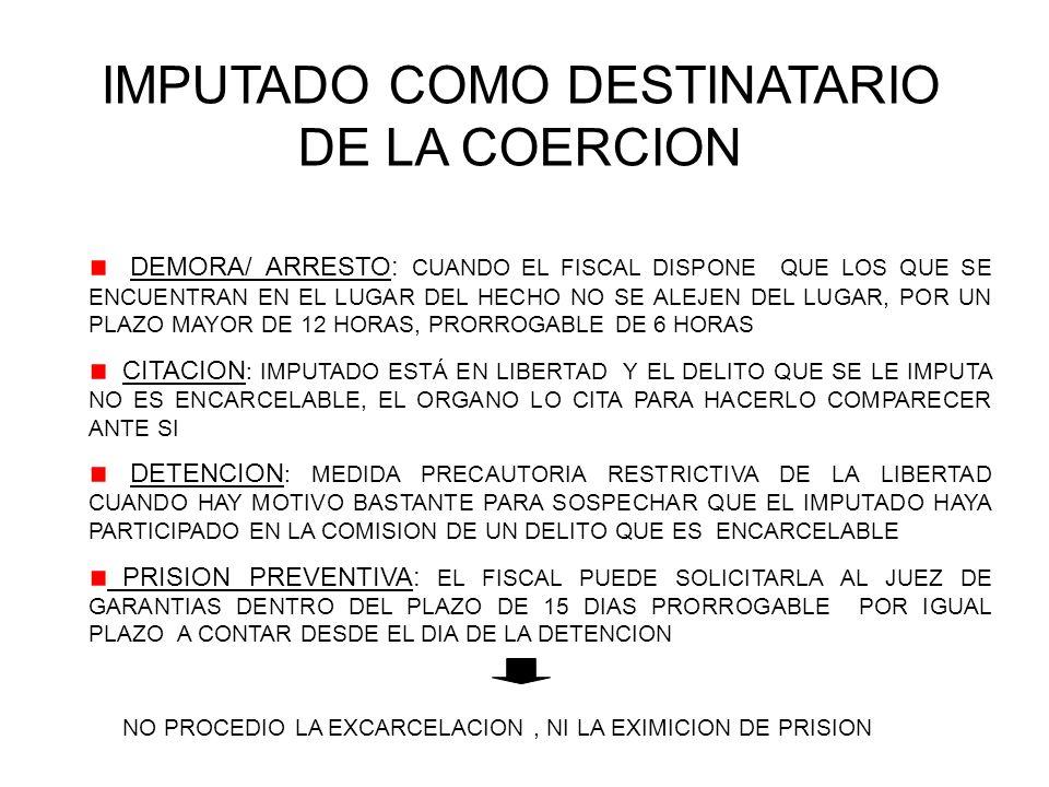 IMPUTADO COMO DESTINATARIO DE LA COERCION