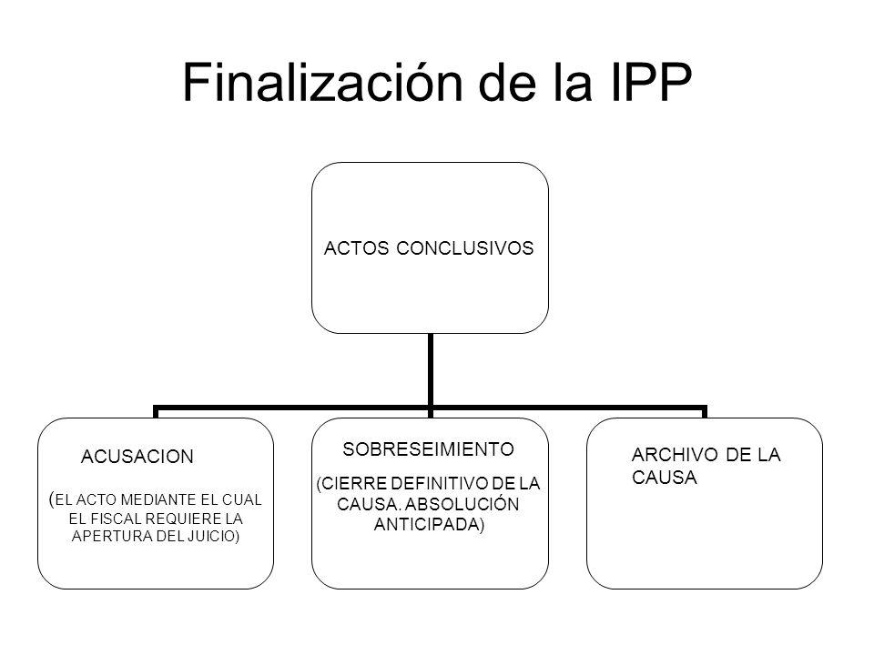 Finalización de la IPP SOBRESEIMIENTO ACUSACION ARCHIVO DE LA CAUSA