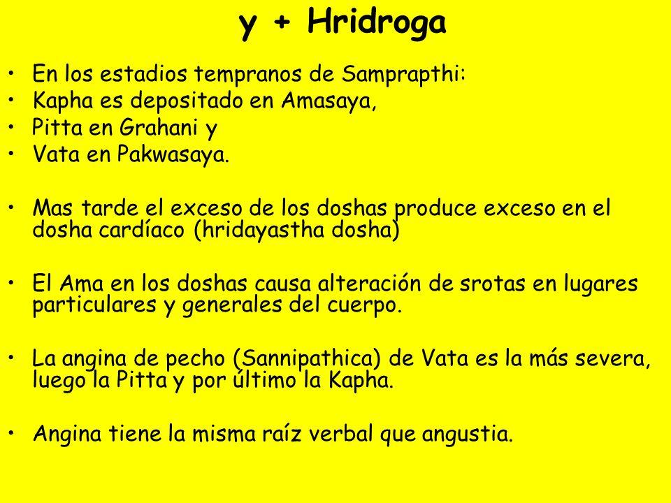 y + Hridroga En los estadios tempranos de Samprapthi: