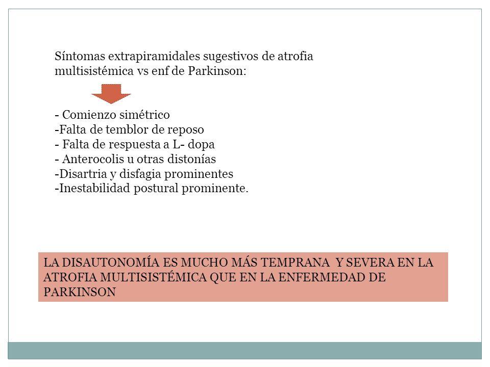 Síntomas extrapiramidales sugestivos de atrofia multisistémica vs enf de Parkinson:
