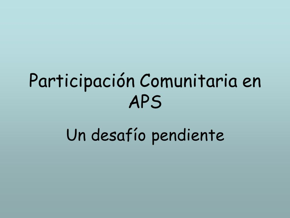Participación Comunitaria en APS