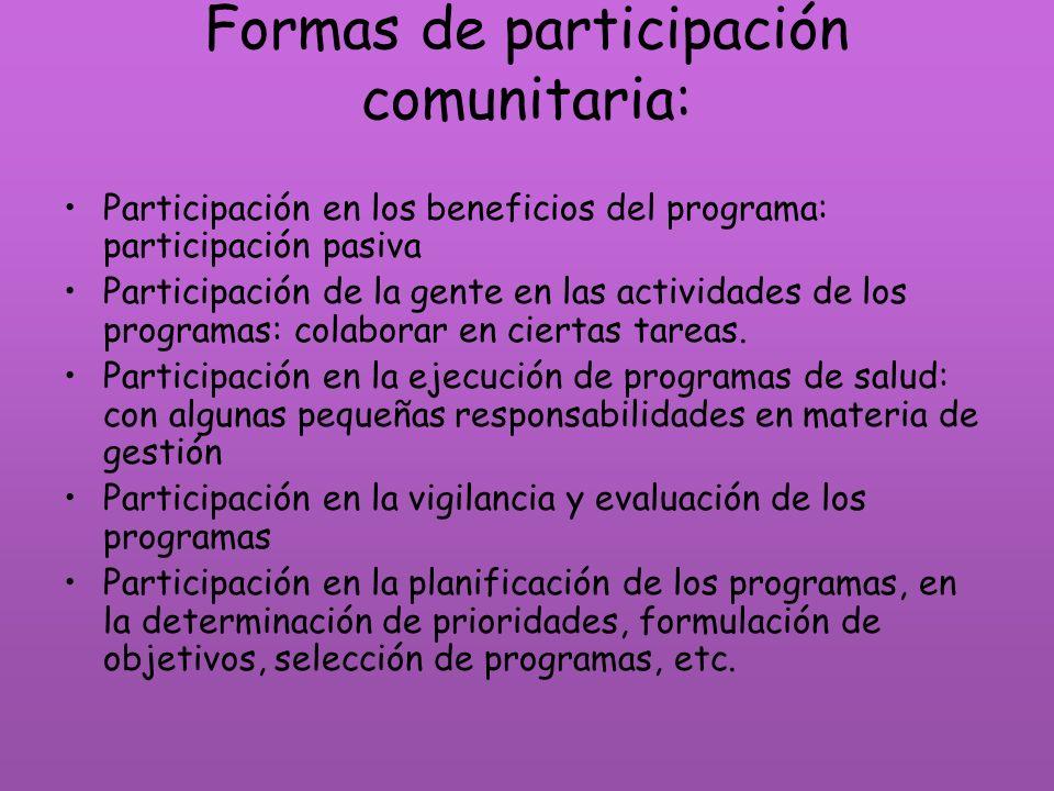 Formas de participación comunitaria: