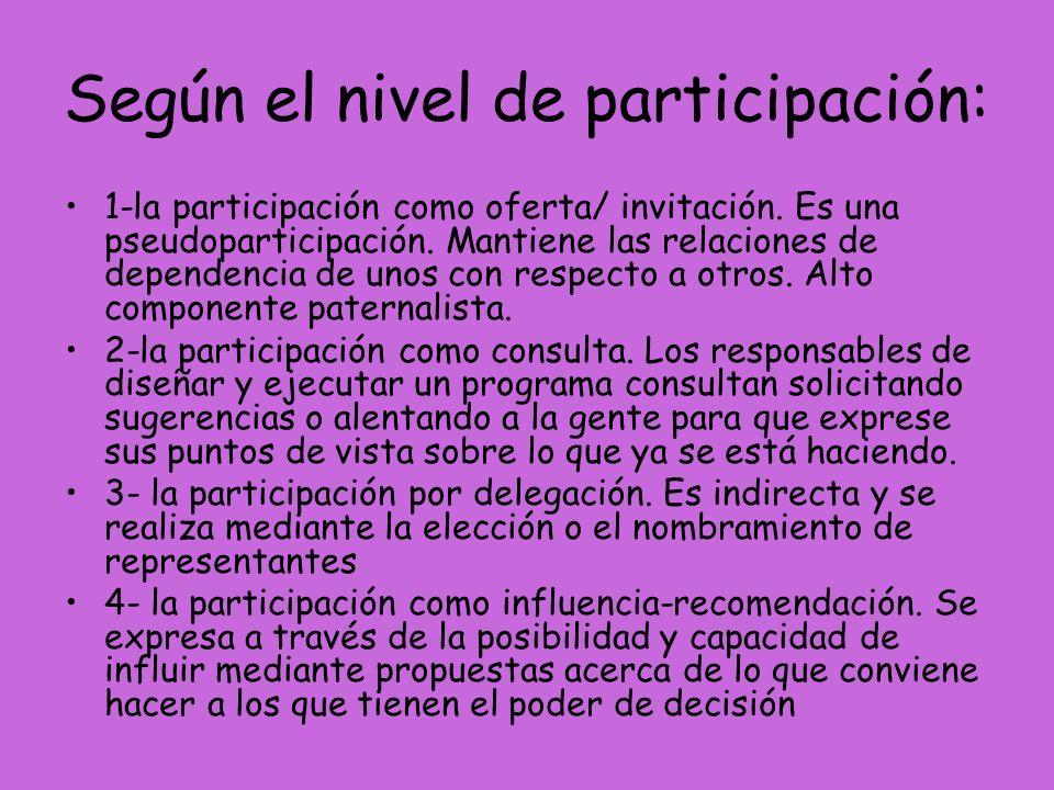 Según el nivel de participación: