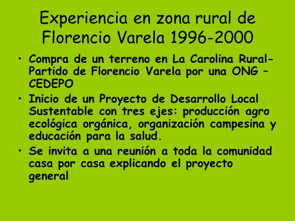 Experiencia en zona rural de Florencio Varela 1996-2000