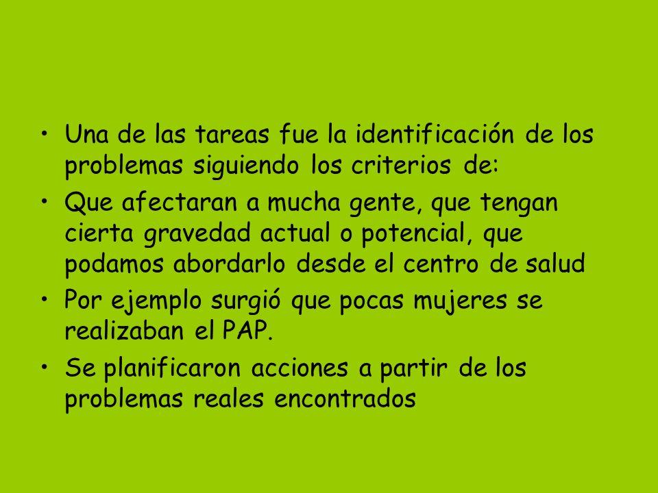 Una de las tareas fue la identificación de los problemas siguiendo los criterios de: