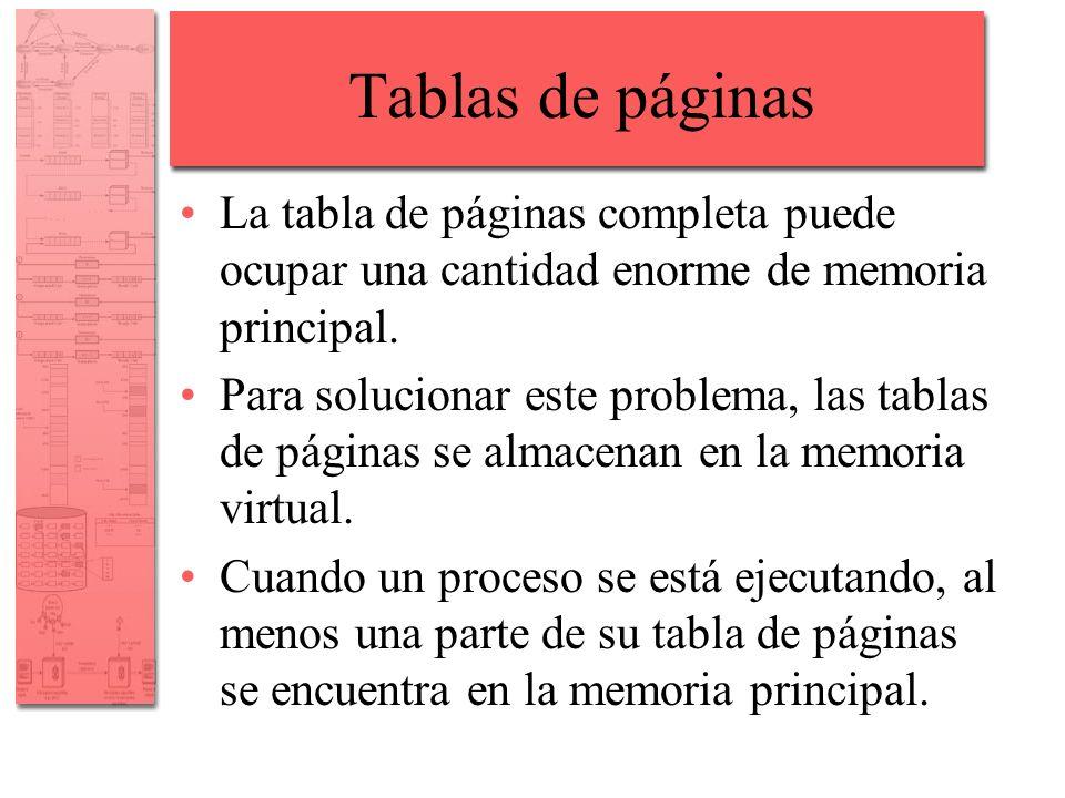 Tablas de páginas La tabla de páginas completa puede ocupar una cantidad enorme de memoria principal.