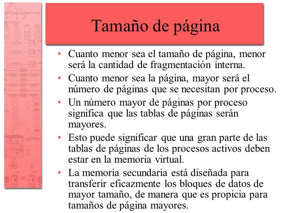 Tamaño de página Cuanto menor sea el tamaño de página, menor será la cantidad de fragmentación interna.